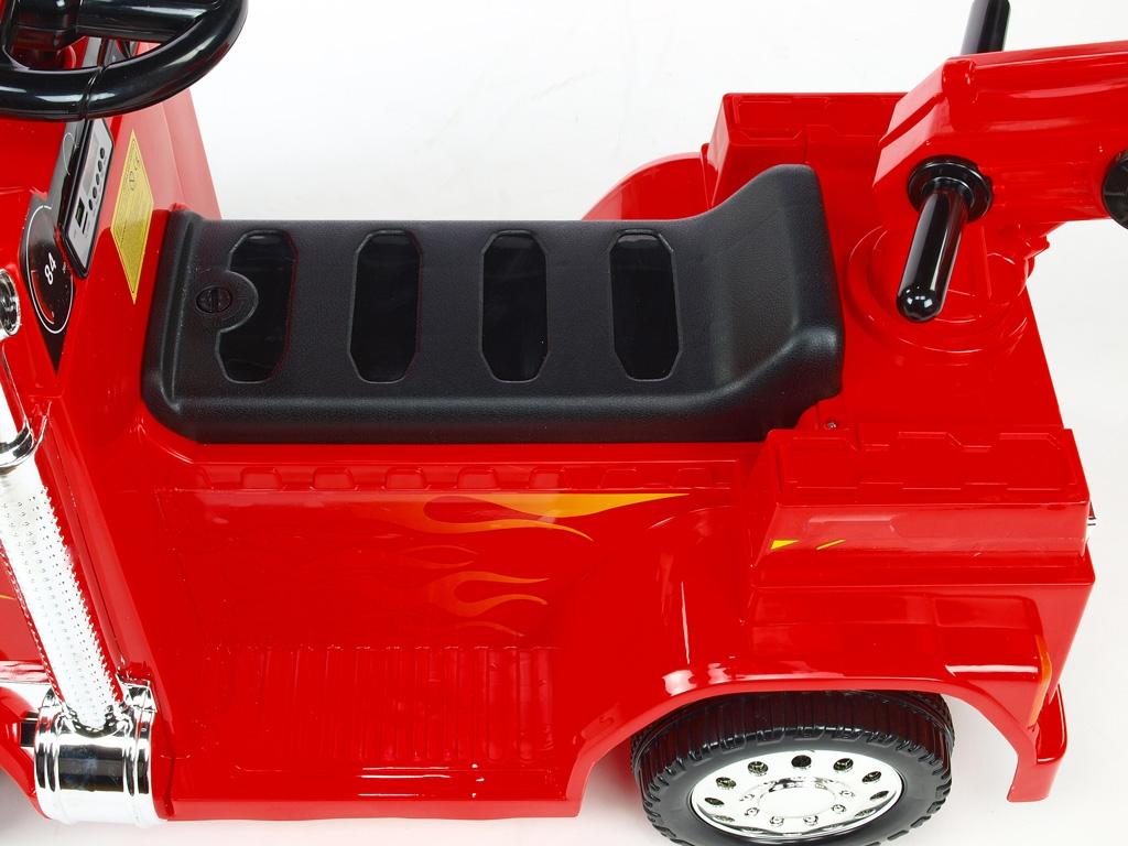 Elektrické auto náklaďáček s funkčním otočným jeřábem, 2,4G DO, voltmetrem, USB, LED osvícením, 6V, červený,