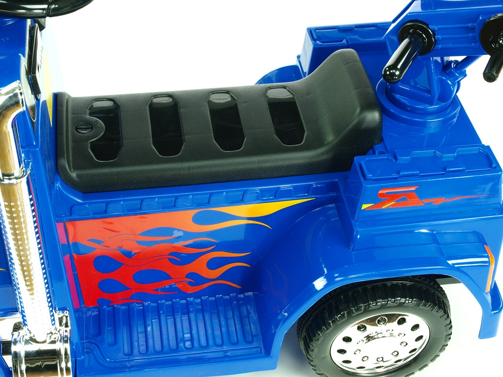 Elektrické auto náklaďáček s funkčním otočným jeřábem, 2,4G DO, voltmetrem, USB, LED osvícením, 6V, modrý,