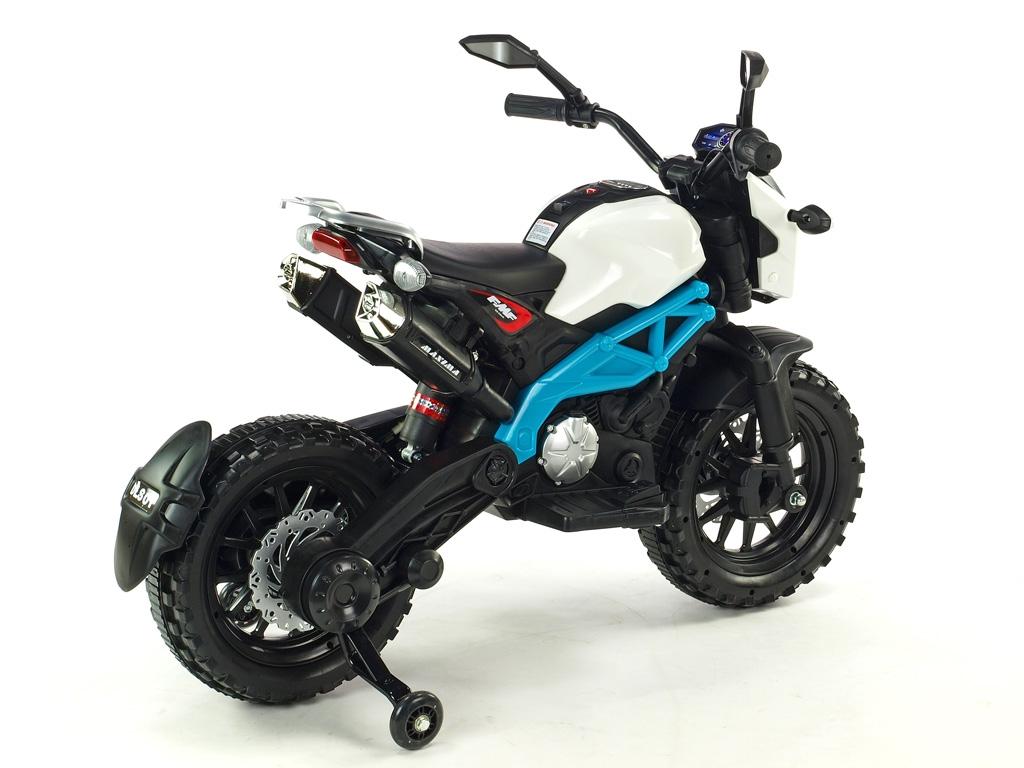 Elektrická motorka terénní Lion s plynovou rukojetí, nožní brzdou, LED světly, USB, stavitelným tlumičem, 1x velký motor 12V/45
