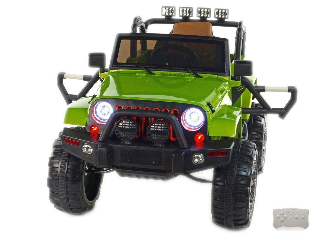 Elektrický džíp Wrangler s 2,4G DO, EVA koly s ložisky, čalouněnou sedačkou, USB, SD, Mp3, FM rádiem, pérováním, zelený