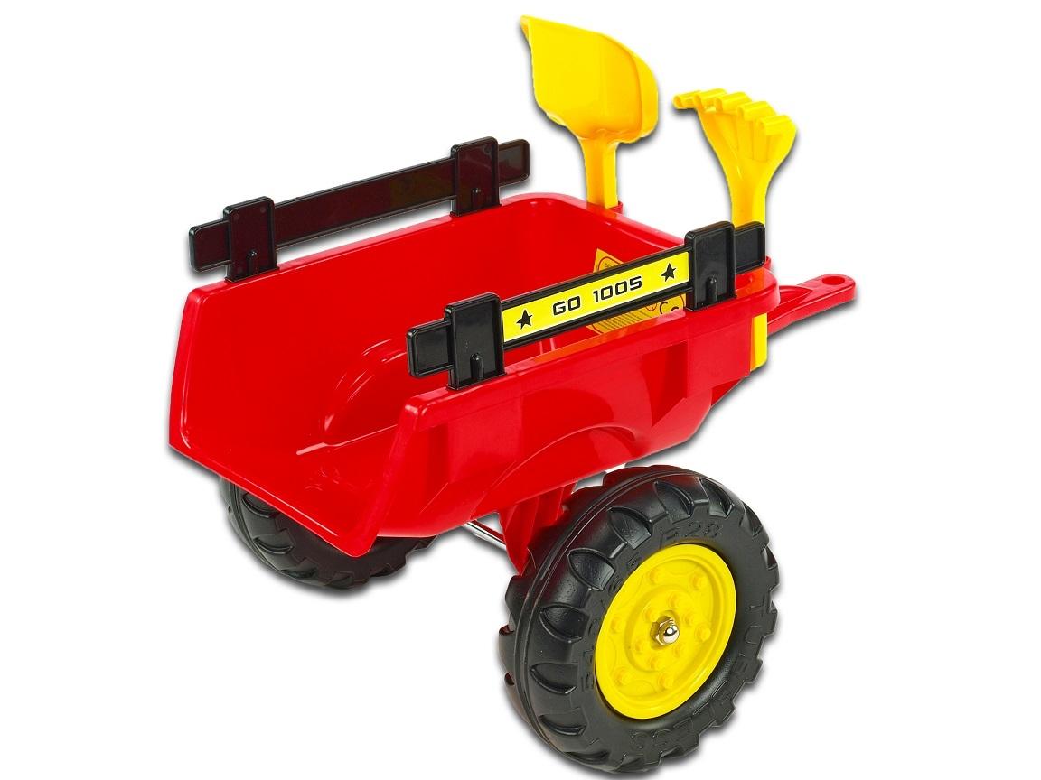 Vlek za traktor Trailer střední 2 kolový, s nářadím, červený