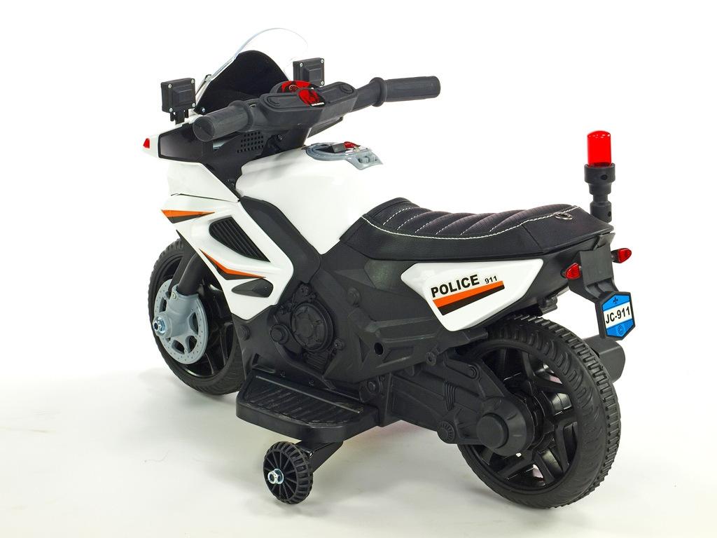 Elektrická motorka mini pro nejmenší Policie 911, s policejními LED a zvukovými efekty, čalouněnou sedačkou, 6V, bílá