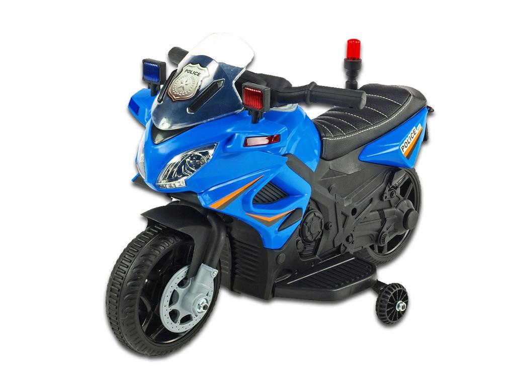 Elektrická motorka mini pro nejmenší Policie 911, s policejními LED a zvukovými efekty, čalouněnou sedačkou, 6V, modrá
