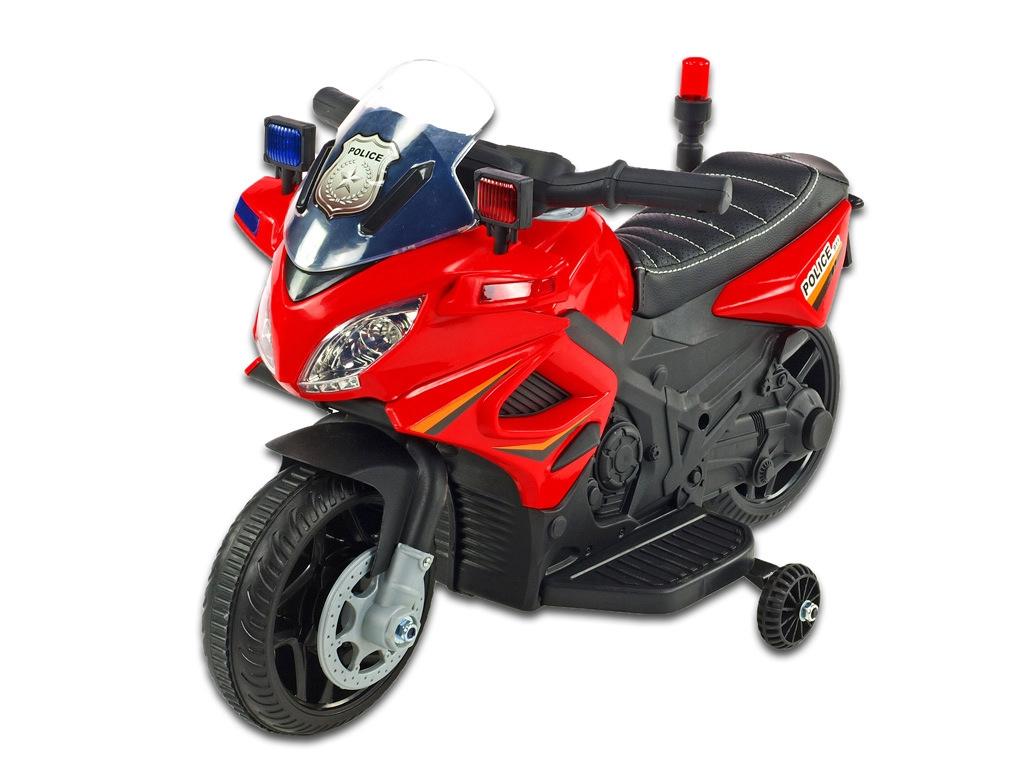 Elektrická motorka mini pro nejmenší Policie 911, s policejními LED a zvukovými efekty, čalouněnou sedačkou, 6V, červená