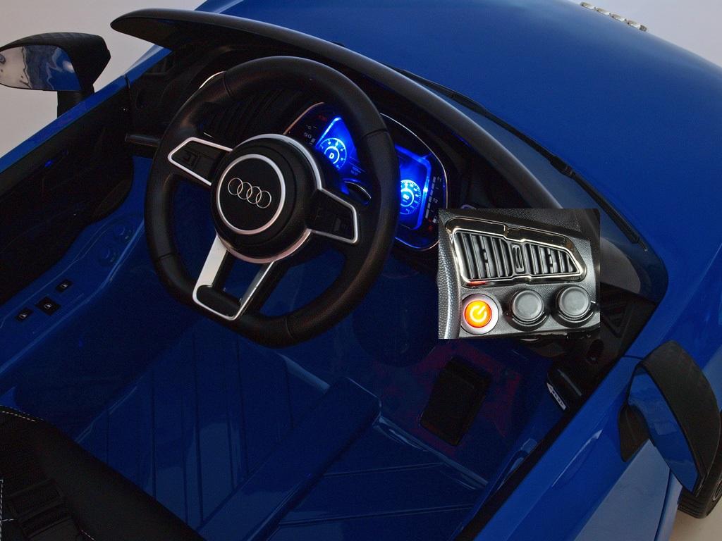 Elektrické auto Audi R8 Spyder s 2.4G DO, EVA koly, USB, otvíracími dveřmi, LED osvětlením, čalouněnou sedačkou, lakované červené