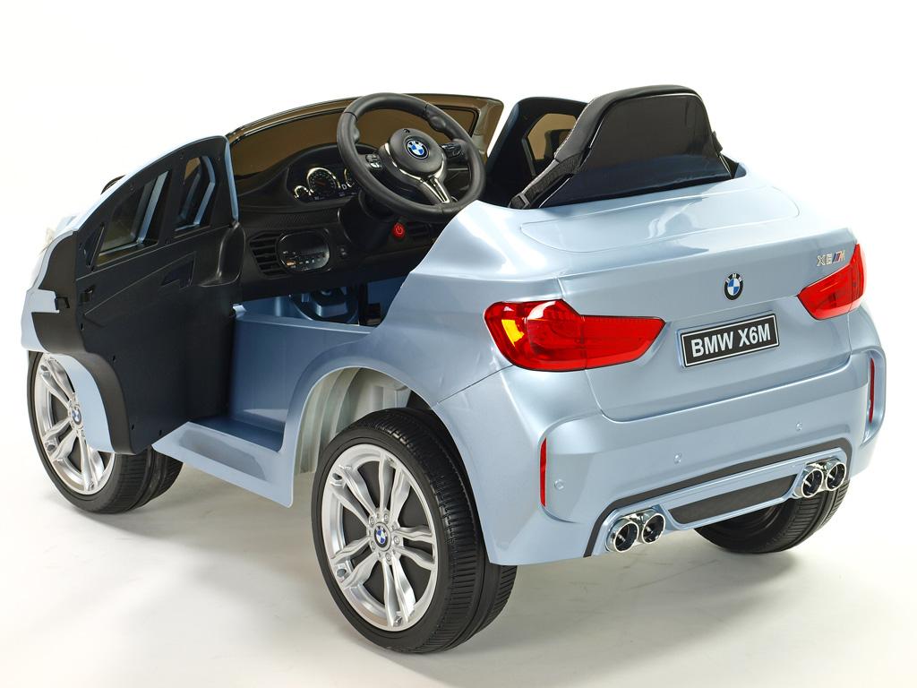 Elektrické SUV BMW X6M s 2,4G bluetooth DO, USB, TF, EVA koly, posuvnou čalouněnou sedačkou, lakované stříbrné,