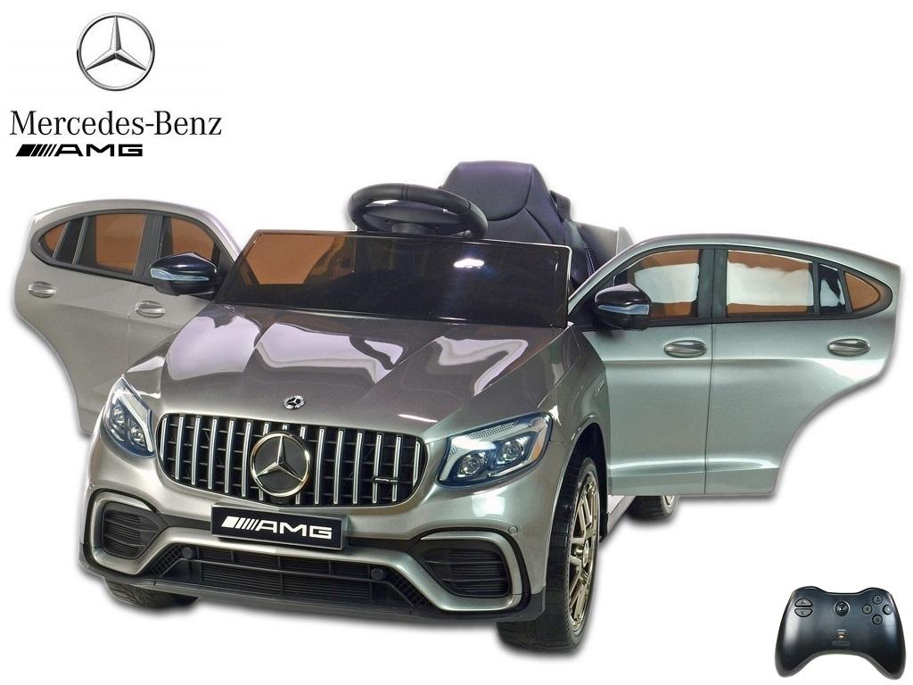 Elektrické SUV Mercedes GLC 63S AMG s 2.4G DO, 12V, otvírací dveře, EVA kola, USB, čalouněná sedačka, lakovaná stříbrná metalíza