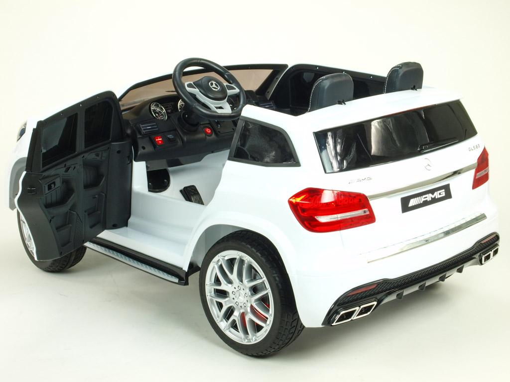 Elektrické SUV Mercedes GLS63 4x4 náhon EVA kol, dvoumístný, 2,4G DO, elektrický ventilátor, LED osvětlení, pérování, voltmetr,FM,USB,TF, čalouněné sedačky, lakovaný bílý,