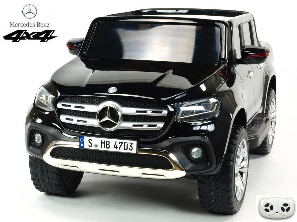 Elektrický pickup Mercedes – Benz X-Class 4x4, dvoumístný s 2.4G DO, plynulým rozjezdem,USB, čalouněním, EVA koly, černá metalíza