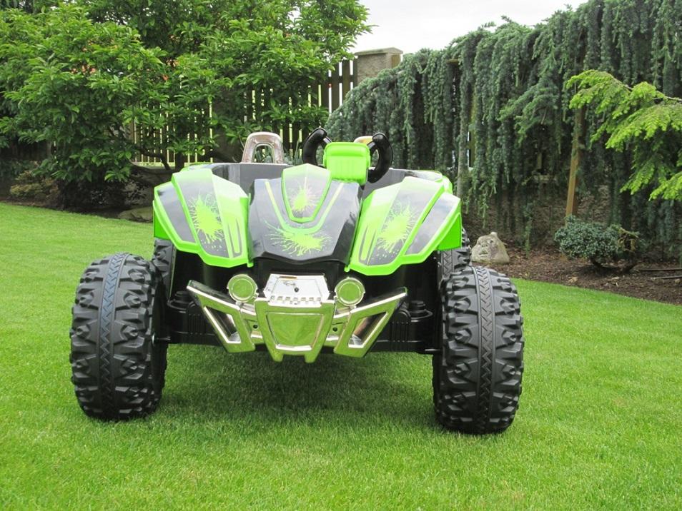 Elektrická Bugyna dvoumístná, 3 rychlosti, 2 motory, 12V, zelená