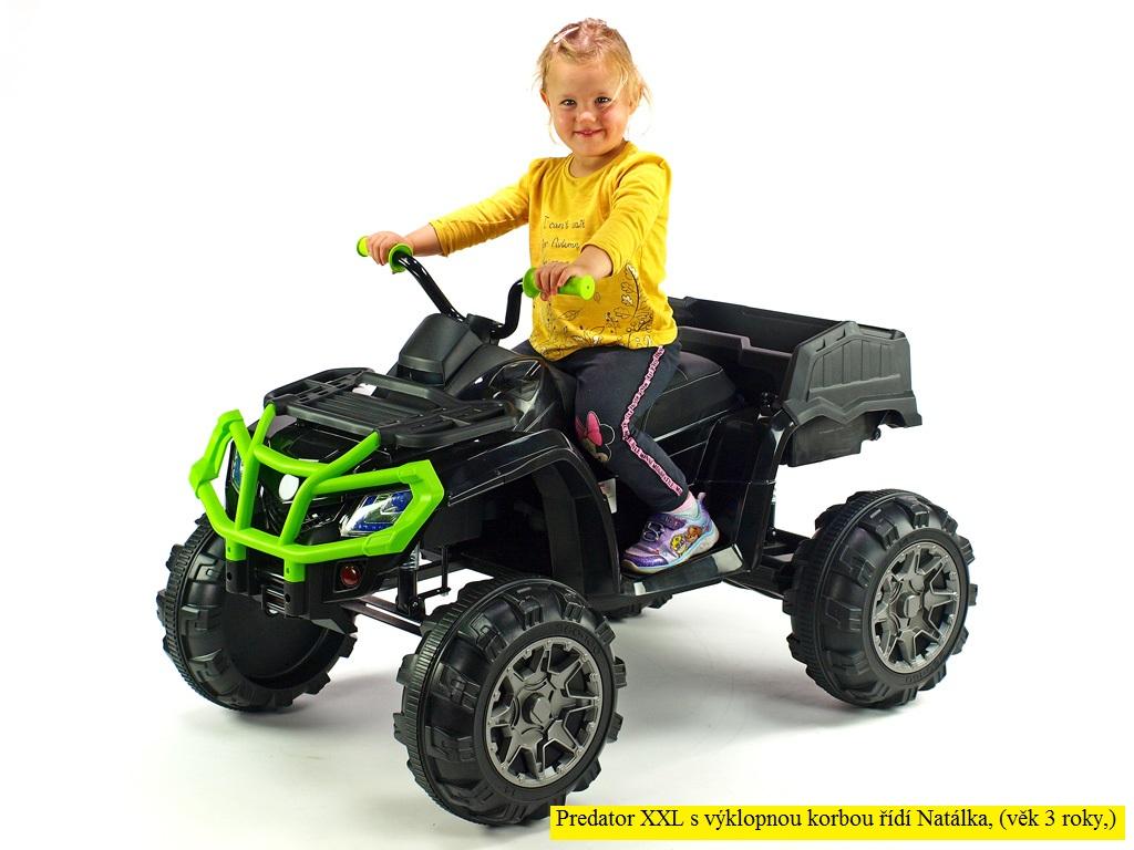 Elektrická čtyřkolka Predator XXL s 2,4G DO, výklopnou korbou, FM,USB, LED osvětlením, čalouněnou sedačkou, odpružením, 2x motor 12V, černozelená