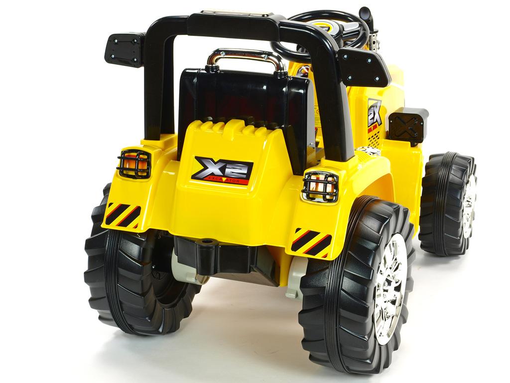 Elektrický traktor 12V s 2,4G dálkovým ovládáním, plynulým rozjezdem, mohutnými koly a konstrukcí, zvukovými a světelnými LED efekty, 2xnáhon, 3 rychlosti, žlutý