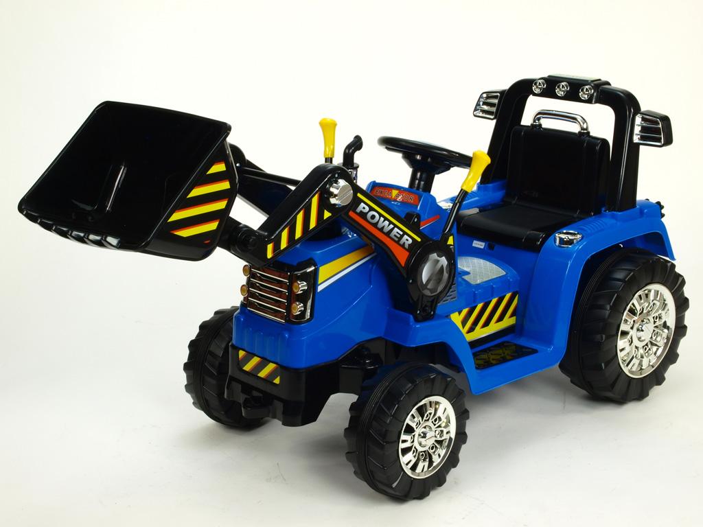Elektrický traktor 12V s ovladatelnou lžící, mohutnými koly a konstrukcí, zvukovými a světelnými efekty, 2xnáhon, modrý