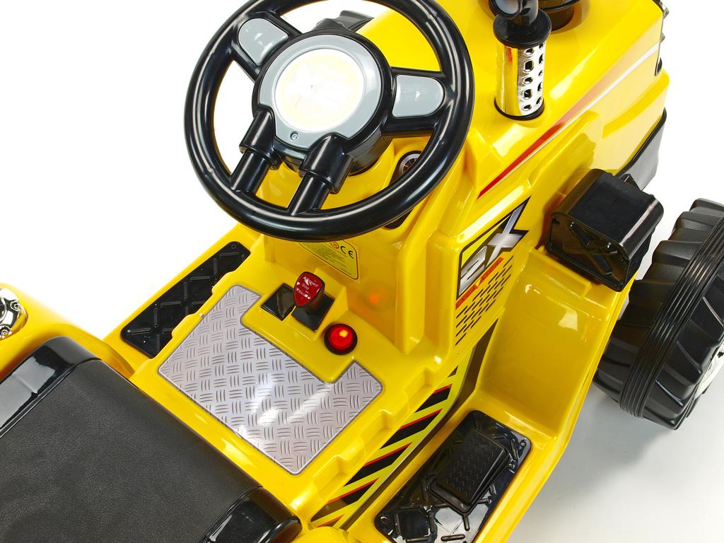 Elektrický traktor 12V s 2.4G DO, lžíce, žlutý
