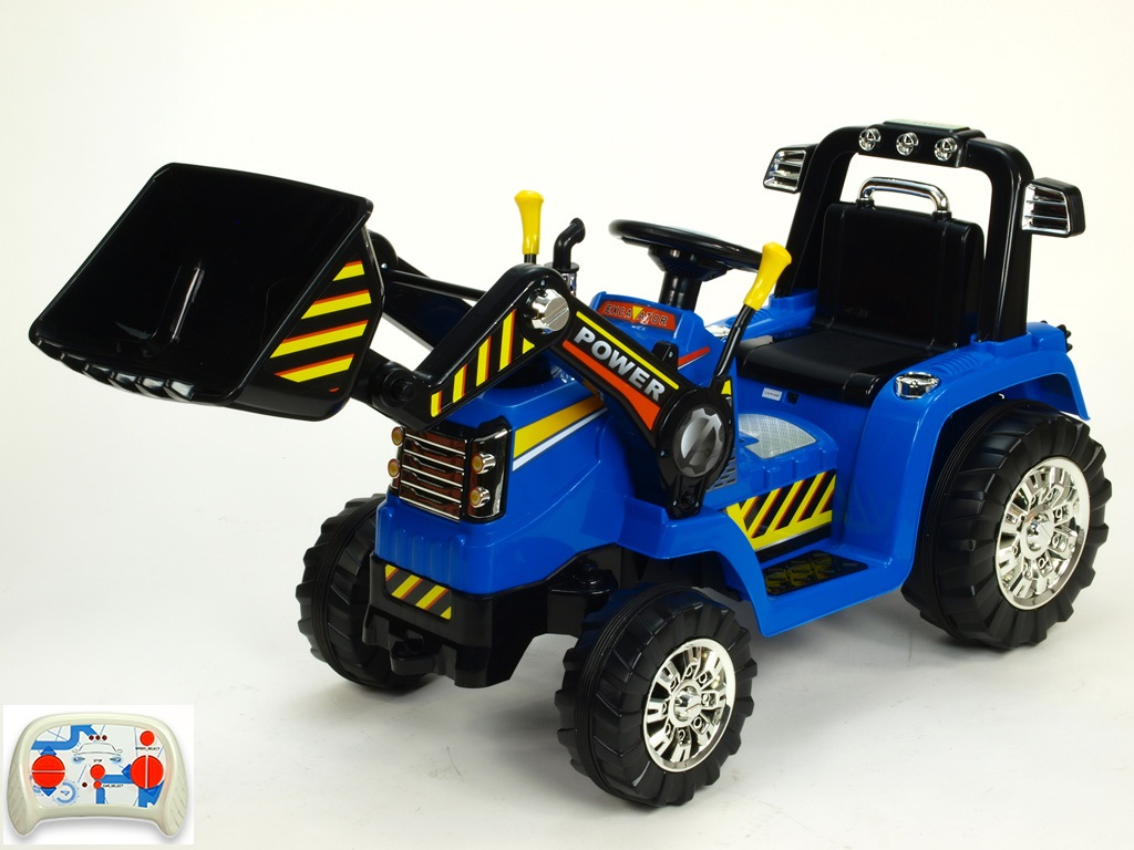 Elektrický traktor 12V s 2.4G DO, lžíce, modrý