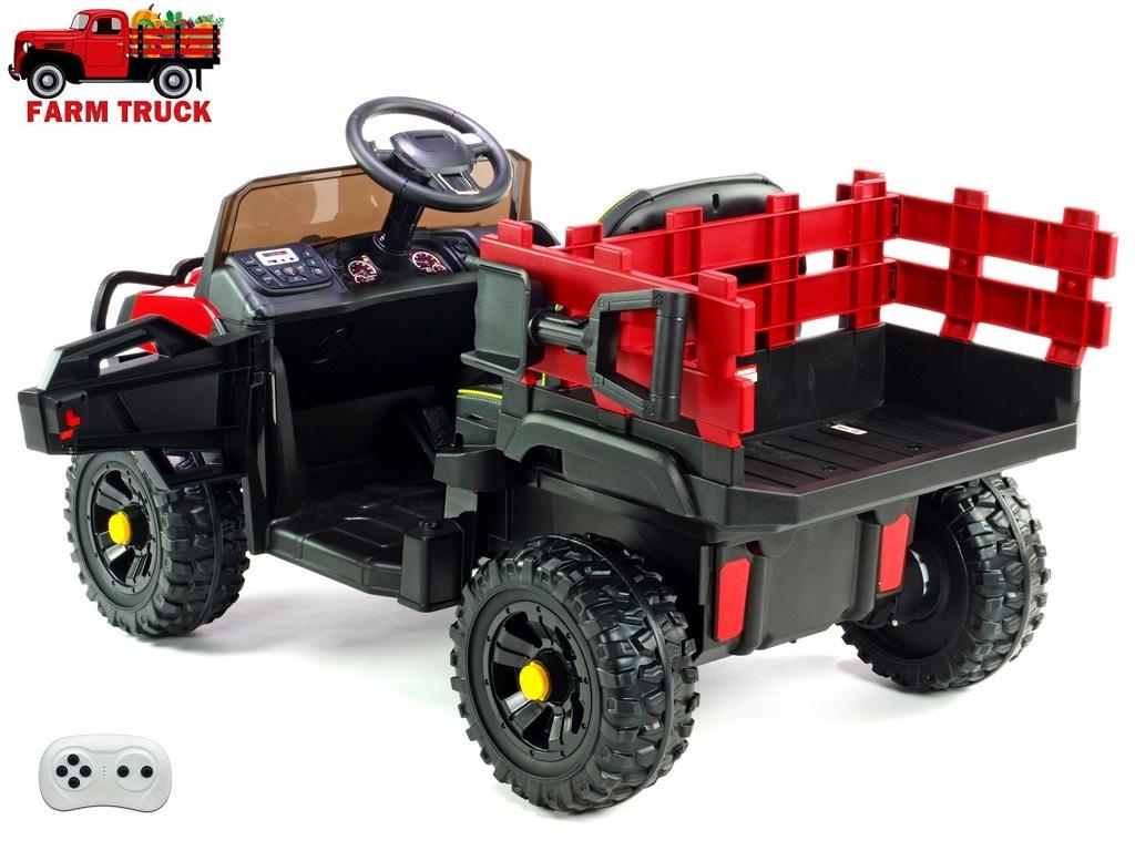 Farmářské auto s 2,4G DO, nákladní korbou a lopatou, FM rádiem, USB, LED světly, čalouněnou sedačkou, 2x 12V/45W, EVA koly, červené