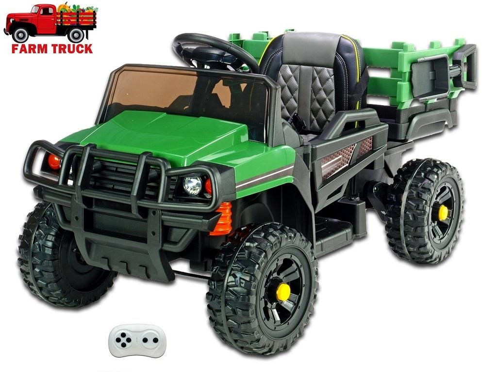 Farmářské auto s 2,4G DO, nákladní korbou a lopatou, FM rádiem, USB, LED světly, čalouněnou sedačkou, 2x 12V/45W, EVA koly, zelené