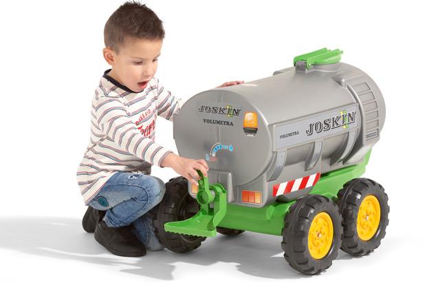 Vlek za traktor New Holland maxi 4 kolový, výklopný s nářadím, modrý