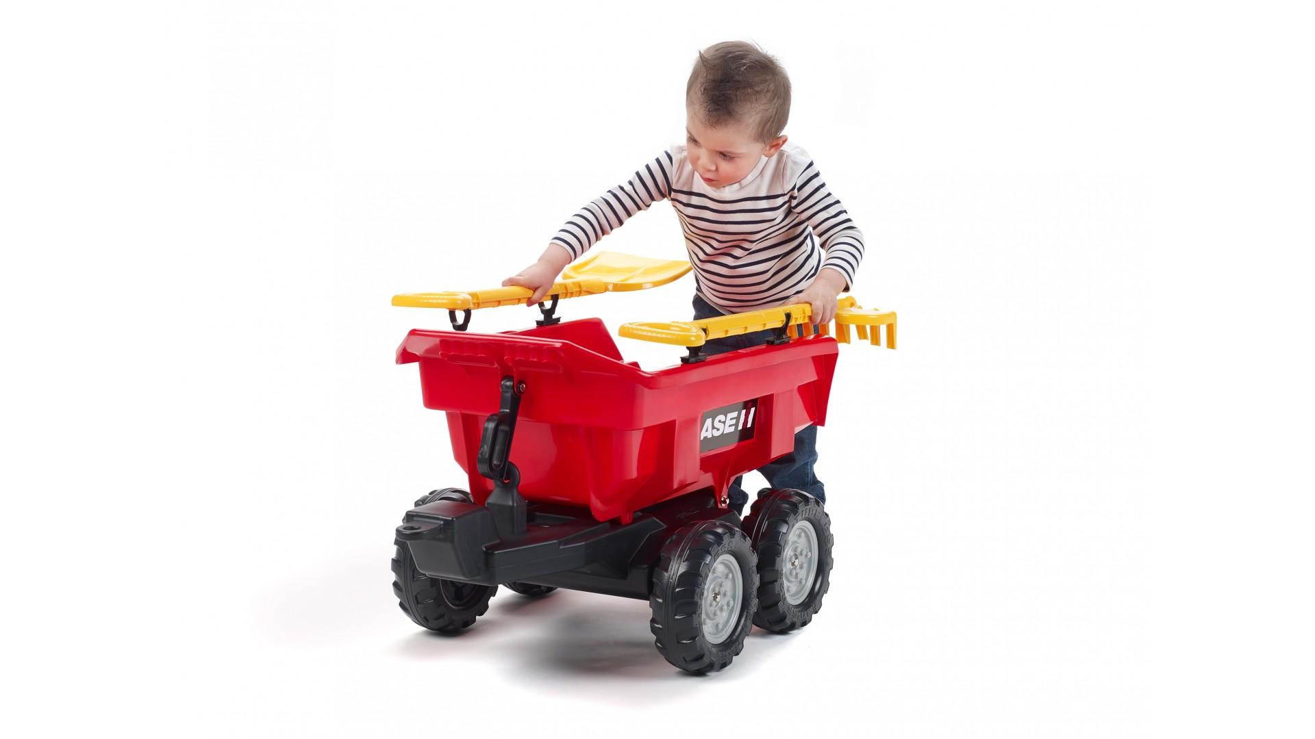 Vlek za traktor Case maxi 4 kolový, výklopný s nářadím, červený