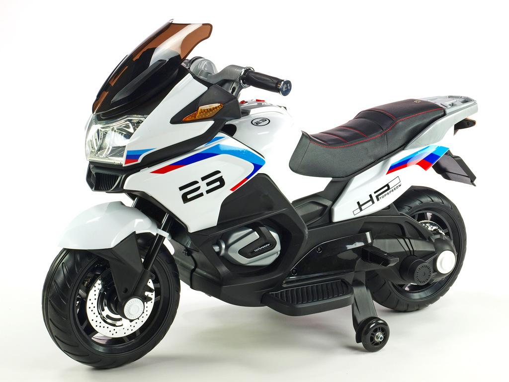 Cestovní motorka Topspeed s plynovou rukojetí a nožní brzdou, bílá