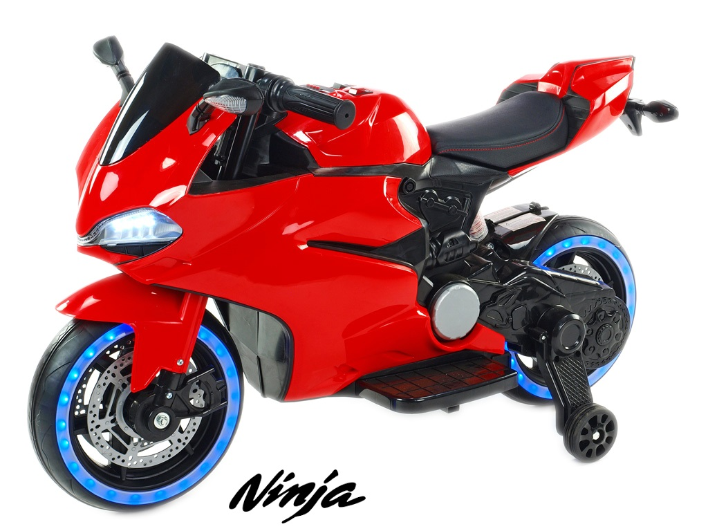 Závodní motorka Ninja s plynovou rukojetí a nožní brzdou, červená