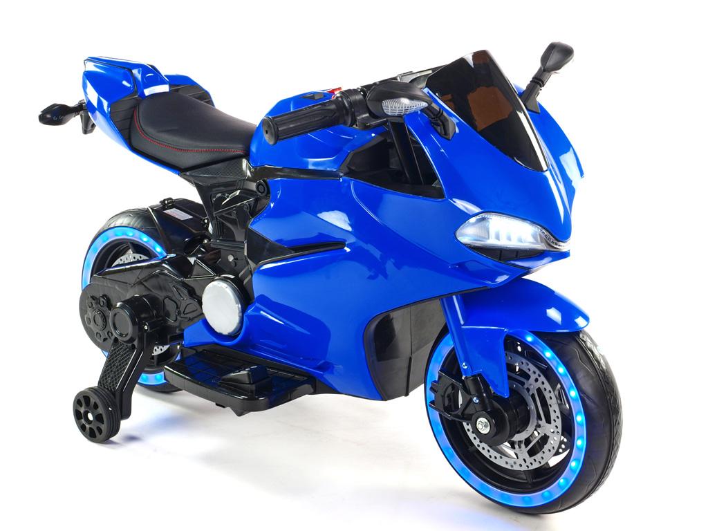 Závodní motorka Ninja s plynovou rukojetí a nožní brzdou, modrá