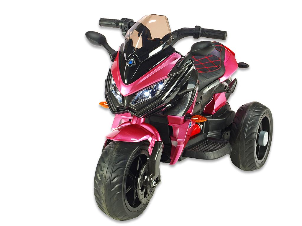 Cestovní motorka BNM s plynovou rukojetí a nožní brzdou, růžová vínová