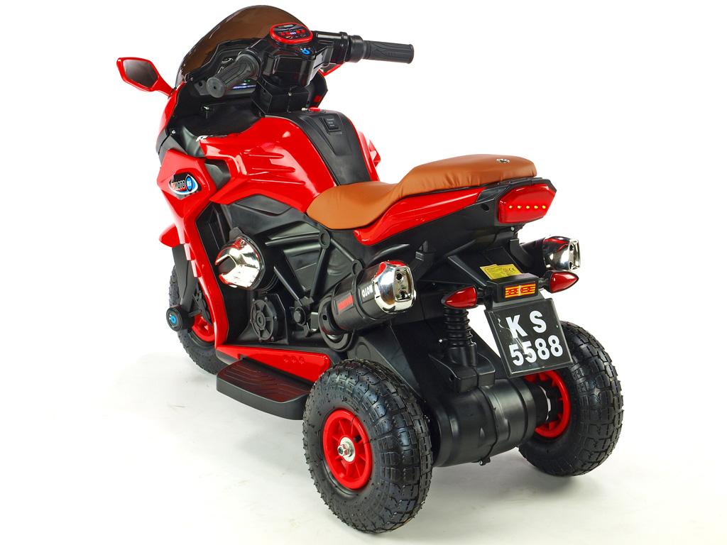 Motorka Dragon s plynovou rukojetí, nožní brzdou, gumovými nafukovacími koly, červená