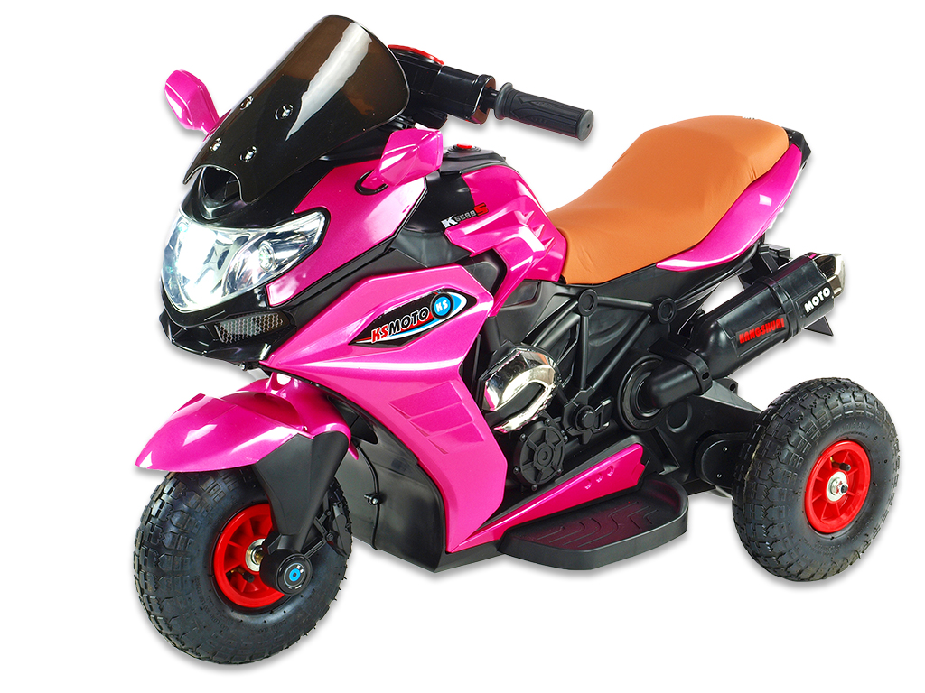Motorka Dragon s plynovou rukojetí, nožní brzdou, gumovými nafukovacími koly, růžová