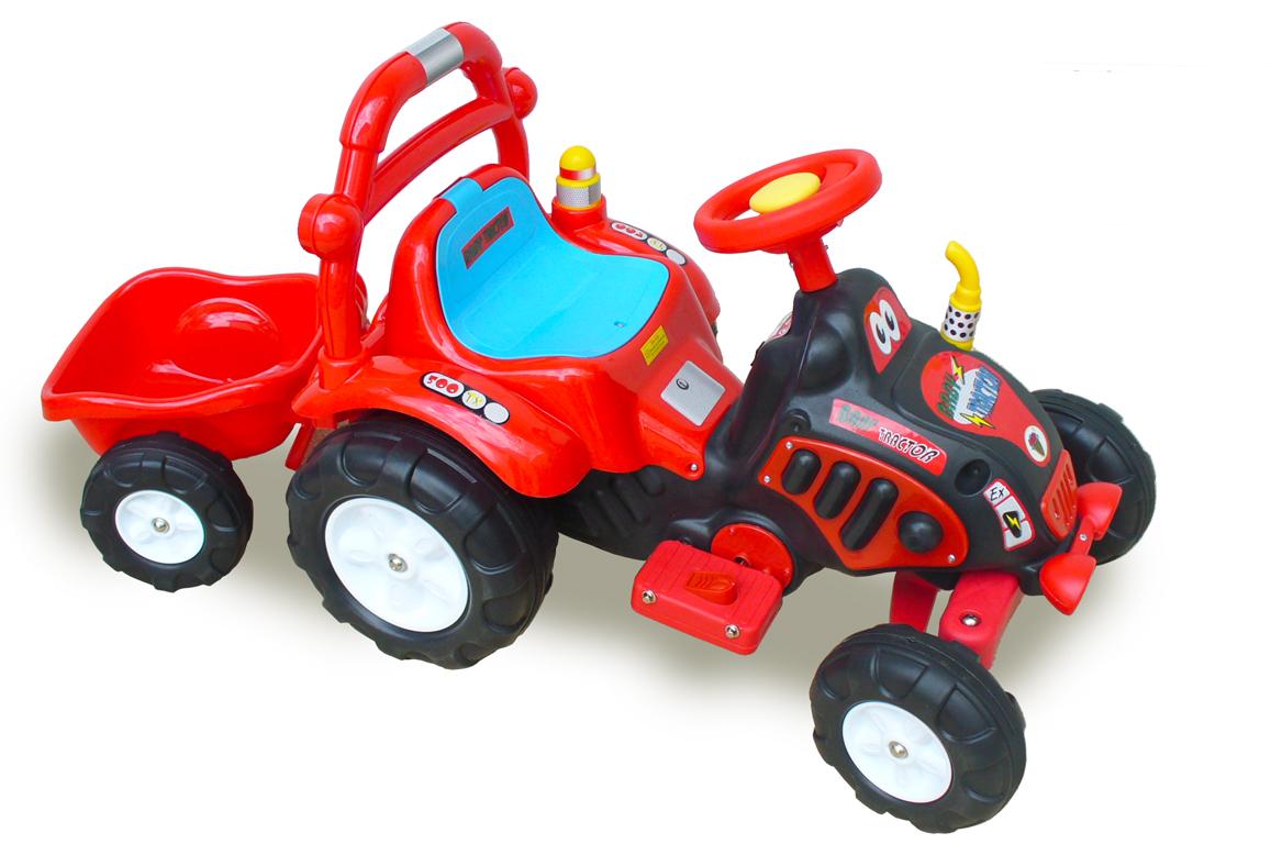 Traktor s vlekem a nářadím pro začínající, s vlastním olepením nálepek