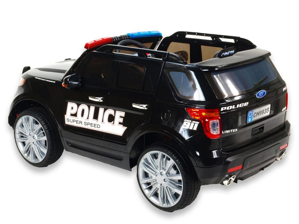Elektrické auto USA policie s 2,4G, megafon, policejní LED a zvukové efekty, černé
