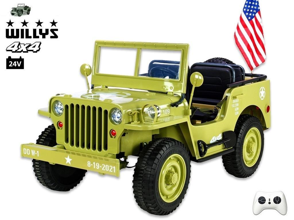 Jeep Willys s 2,4G, 4x4, 24V, 3 místný, macha army
