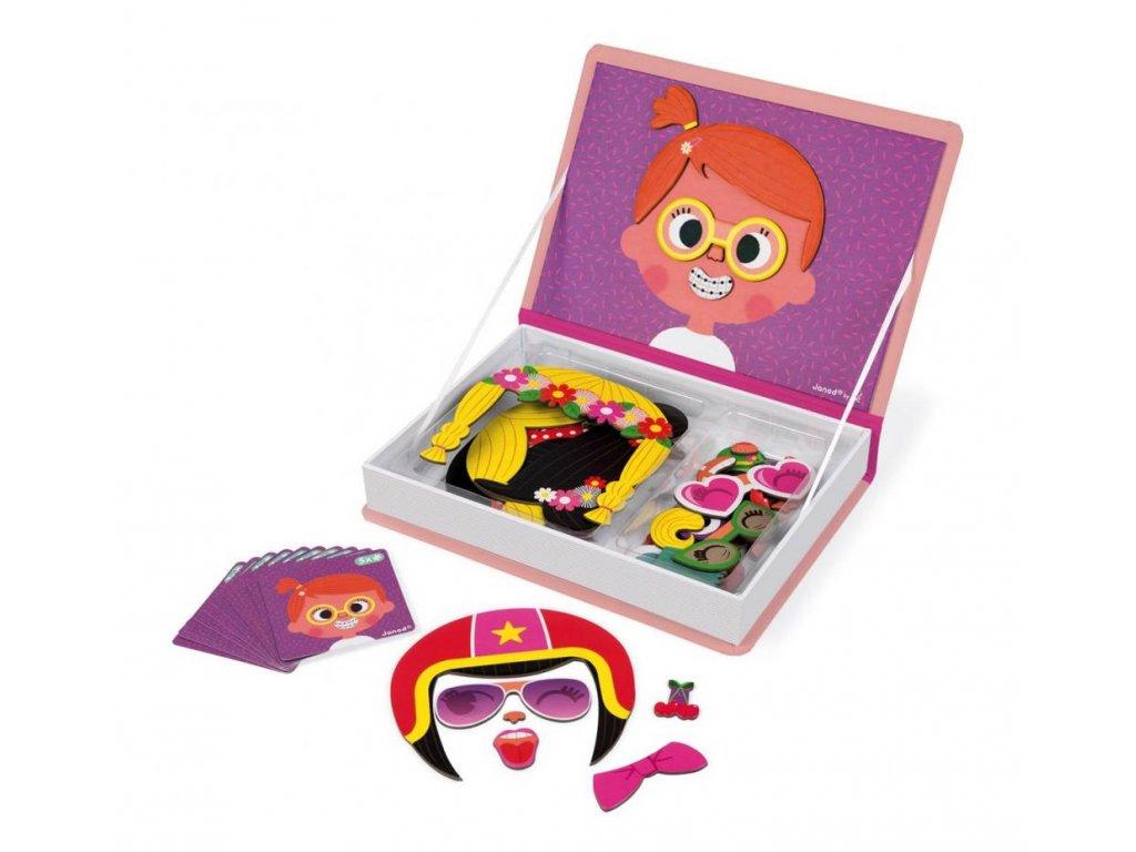 Janod Magnetická kniha - Zábavné tváře děvčata