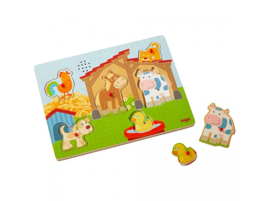 2612 haba drevene zvukove puzzle farma