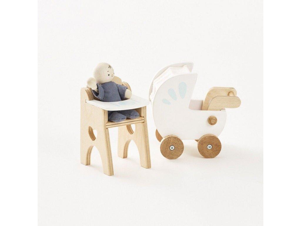 ME044 Nursery Set Pink Buggy High Chair Dolls House Furniture