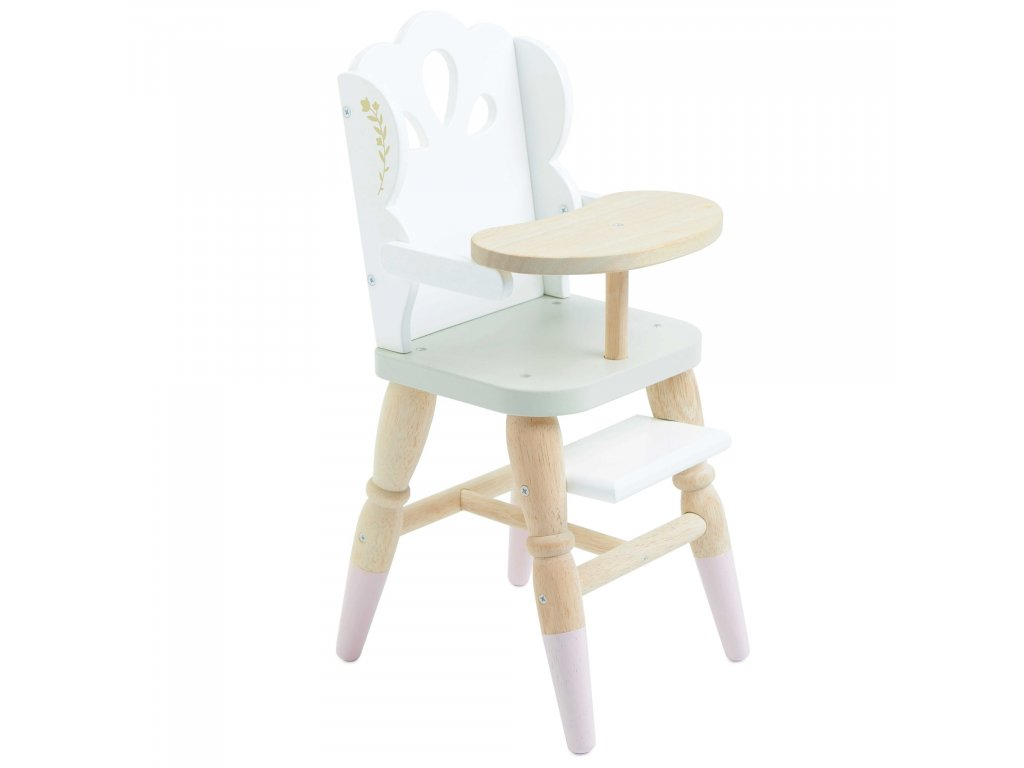TV601 White Pink Gold Wooden Doll High Chair