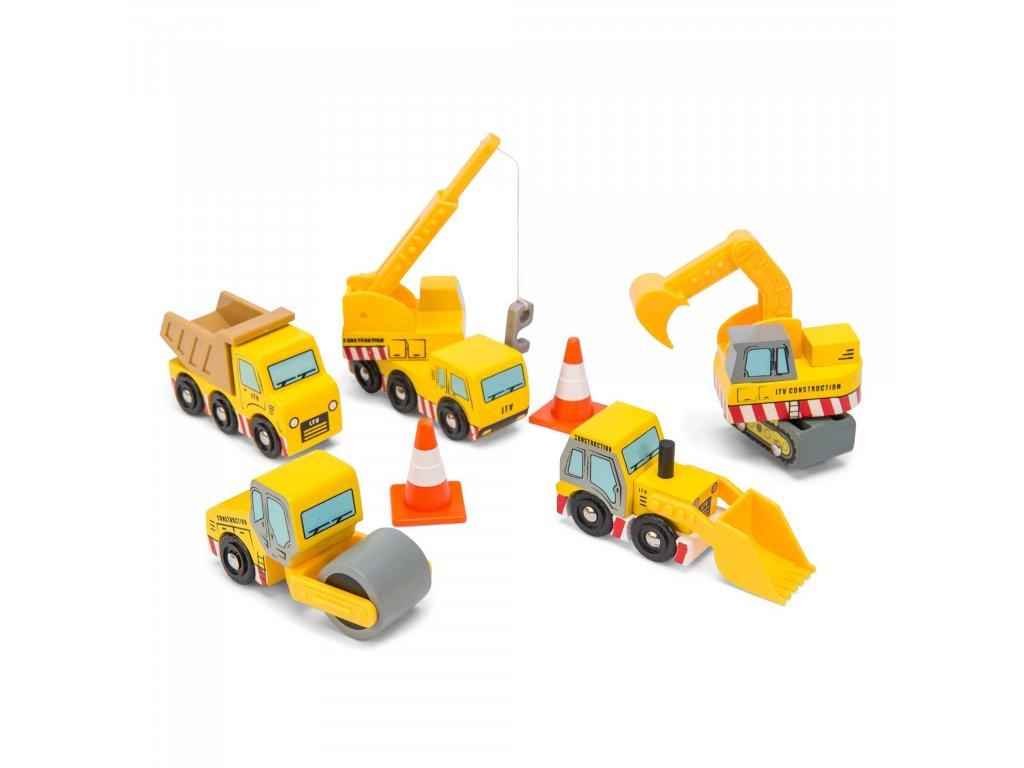 TV442 Construction Wooden Cars Yellow Digger Lorry Crane