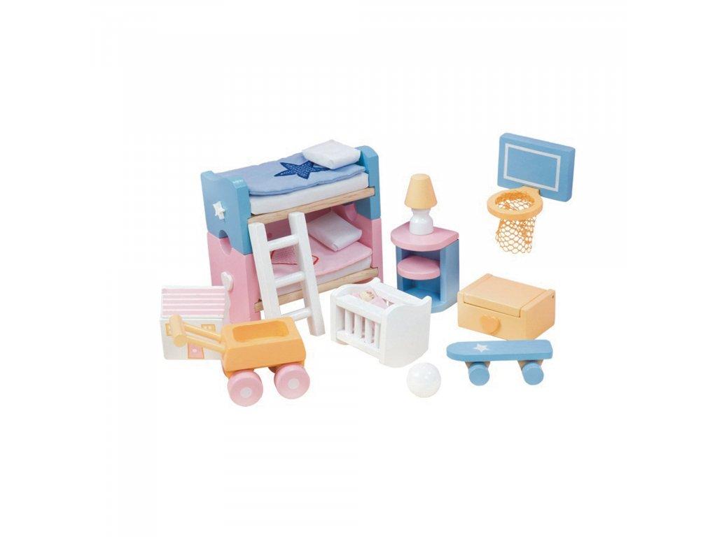 ME054 Sugar Plum Children Bedroom Blue Pink Bunk Wooden Dolls House Furniture