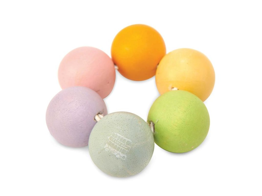 PL123 Baby Teething Rainbow Wooden Beads Bracelet2
