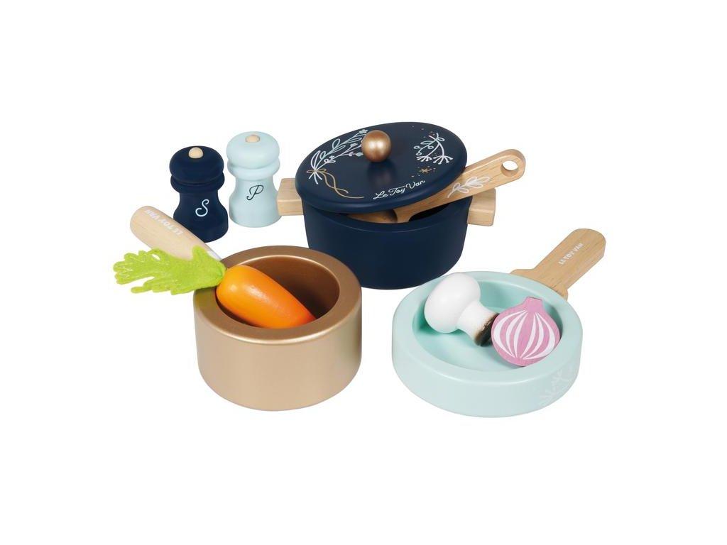 TV301 Pots Pans Cooking Wooden Toy Utensils