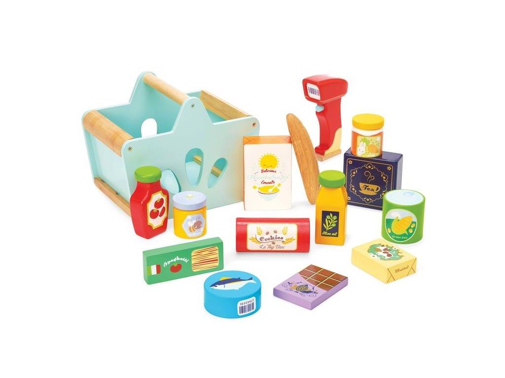 TV326 Groceries Scanner Wooden Food Shopping Basket