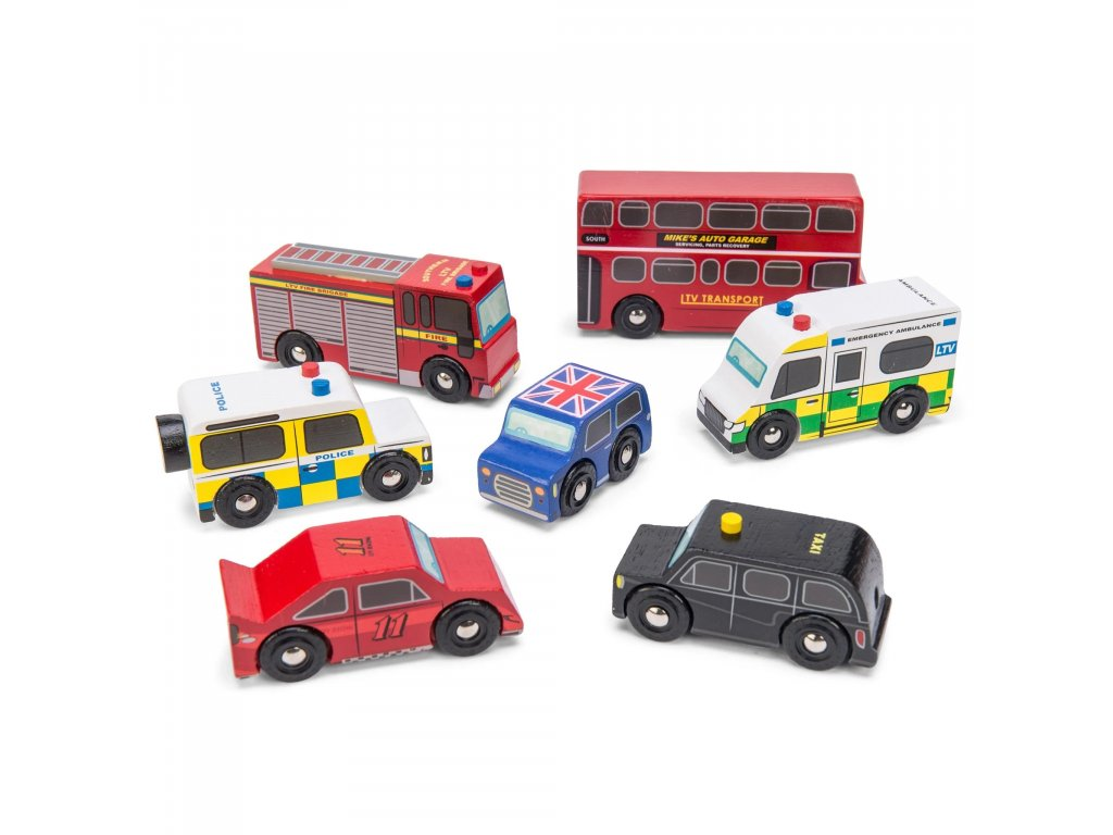 TV267 London Wooden Cars Taxi Bus Ambulance Police Fire Engine2