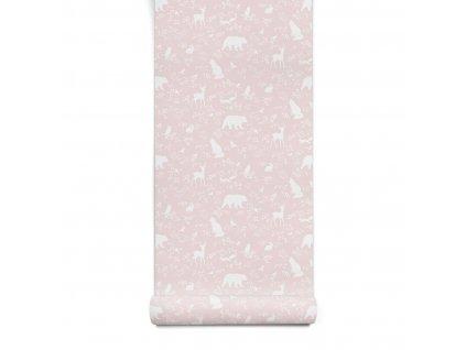 tapeta forest animals pink 1