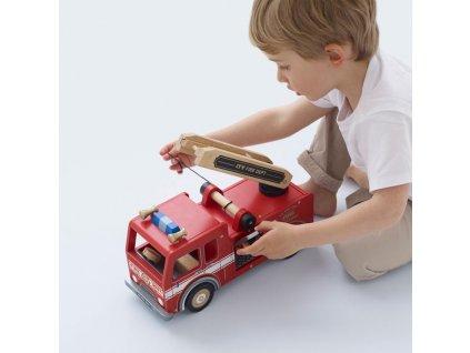 TV427 Red Wooden Fire Engine Truck Fireman Ladder