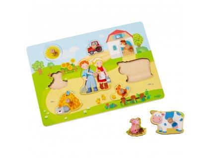 9971 drevene puzzle s uchytem farma