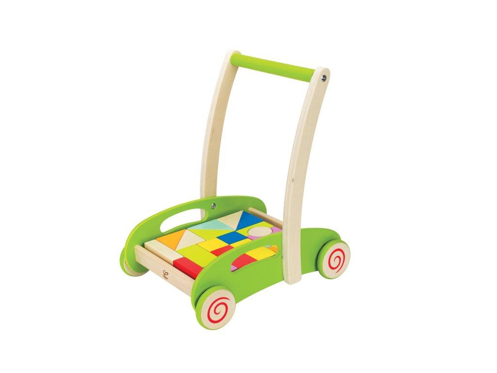 Hape Drevený vozík s kockami