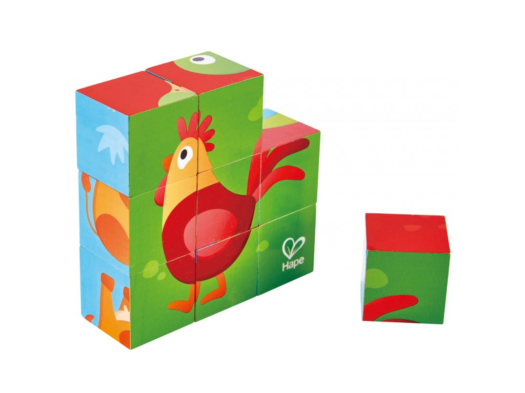 Hape Drevené kocky - zvieratká zo statku