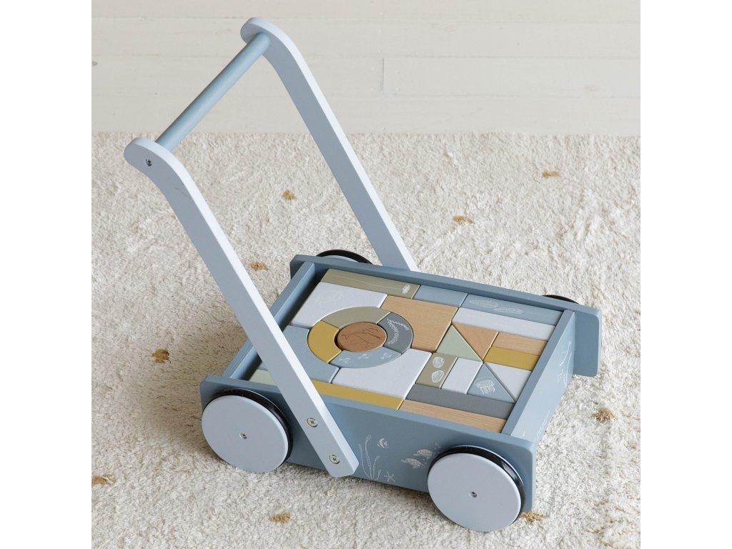 Little Dutch Drevený vozík s kockami - blue