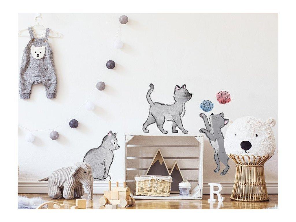 Mačičky samolepky na stenu