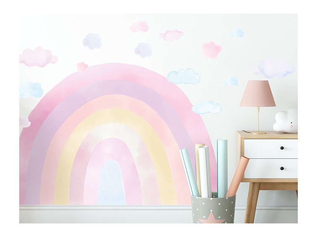 DUHA samolepka na stenu - pink